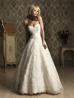Cheap Price ! Good Quality ! 2014 New Free Shipping Beading Sweetheart Lace Belt A Line White / Ivory Wedding Dresses OW 3042