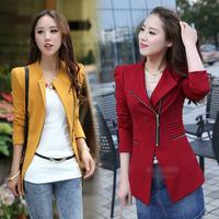 New 2014 Autumn Women's Zipper Blazer Slim Medium Long Coat Elegance Trends Fashion Jacket tops