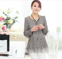 Spring New 2014 one-piece chiffon shirt  female plus size clothing lace chiffon lace one-piece clothing 4 colours