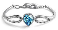 18K White Gold Plated Rhinestone Crystal Heart Bracelets & Bangles Wholesale Fashion Jewelry for women