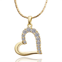 Beautiful Crystal Heart Love Pendant 18KGP Gold Plated Rhinestone Stainless Steel necklaces & pendants