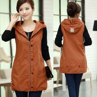 Polyester 2014 Women Plus size Vest Medium-long Patchwork Slim Hooded Coat,Female Fashion Warm Solid Spring Outwear M-XXXL