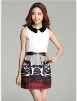 2014  women's vintage white jacquard  patchwork sleeveless tank mini dress match belt printed straight slim fit X M L  99709