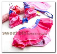 Fashion cute baby children bikini girls Bowknot polka dot skirt split swimwear 3pcs sets kids spa beachwear have hats 7050