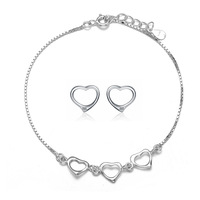 Wholesale for 100% 925 Sterling Silver 17CM Heart-shaped Bracelet + 10MM Cubic Zirconia Stud Earrings,Top Quality! (L0067&B0286)