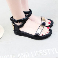 Sandals cool boots platform women's platform flat shoes metal cross buckle genuine leather single shoes