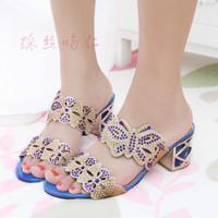 New 2014 Women Sandals Fashion Rhinestone Cutout Thick Heel Female Slippers Open Toe Shoe Sandal