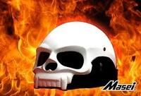 Masei White Skull 419 Motorcycle Chopper DOT Helmet FREE Shipping Worldwide Free Size White