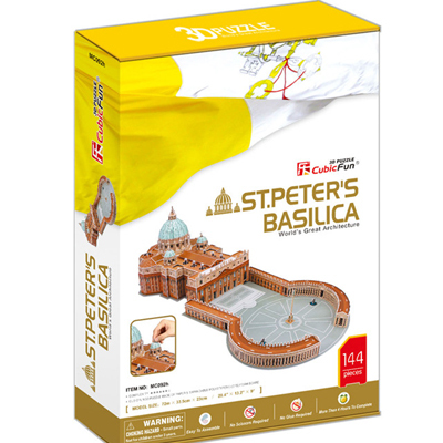 Promotion Gift Cubic Fun 3D Puzzle Toys St.Peter's Basilica (Vaticano) Model DIY Puzzle Toys MC092h For Children's Gift(China (Mainland))