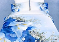 New Beautiful 100% Cotton 4pc Doona Duvet QUILT Cover Set bedding set Full / Queen / King size 4pcs flower blue white FS-795