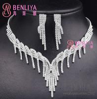 New Fashion 2014 Clear Crystal Tassel African Bridal Wedding Jewelry Sets