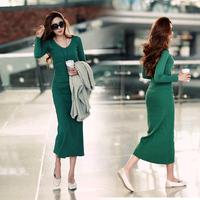 Women's casual basic skirt high waist long-sleeve knitted full dress sexy slim hip slim one-piece dress