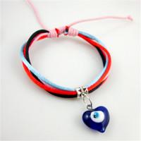 Color rope hand tie line hearts glass eye pendant bracelet