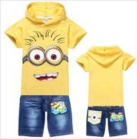2014 new summer children boys clothing set cartoon Minions hoodie t shirt + pants jeans sport girl tracksuit