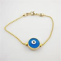 Turkey style round shaped copper chain bracelet gold bracelet blue eyes