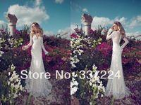 2014 Elegant New Custom Long Sleeves Lace Mermaid Wedding Dresses Custom