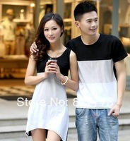 Hot selling free shipping  Sweethearts outfit Summer wear splicing stripe couple t-shirts with short sleeves skirt 2pcs/lot