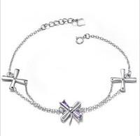 925 silver bracelet chain four leaf clover natural crystal bracelet crystal anti-allergic