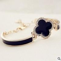 Four leaf clover bracelet hao stone diamond titanium rose gold bracelet hand ring 1633