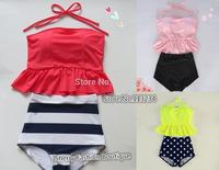 pinkish orangish navy stripe HIGH WAISTED Bikini Set RETRO Swimsuits Suits Swimwear Vintage Bandeau M L XL bathing suit women