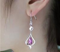 Women's long design earrings silver jewelry drop earring 925 pure silver earrings amethyst earrings