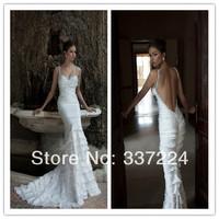 2014 Berta White Sweetheart Shinny Beaded Spaghetti Straps Layers Ruffle Chiffon Long Sexy Backless Wedding Dress