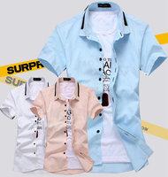 2014 new hot short sleeve solid color summer men's shirt fashion casual slim men dress shirt