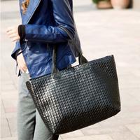 New 2014 Women pu Leather Handbag Shoulder Bag Lingge Hand Woven Bag Leisure Bag The Whole Network Lowest Wholesale Black