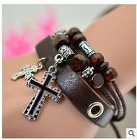 Fashion leather cross, restoring ancient ways punk bracelet