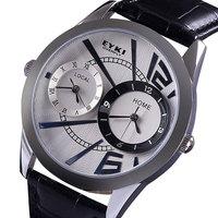 2014 New Arrival dropship famous brand name EYKI 3ATM dual time display genuine leather strap quartz eyki men wristwatch