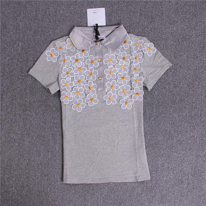 2014 new high quality cotton t-shirt Slim collar women summer fashion short sleeve tee decals(