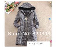 2014 Winter New Arrival Women Outerwear Vintage Elegant Slim Zipper Long Thick Wool Hoodies Coat Parka