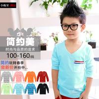 2014 autumn big children's plus size clothing pocket  baby boy girl t-shirt male female baby child long-sleeve T-shirt