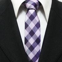 Men Fashion Narrow Grid Neck Tie Casual Man Purple Lilac Check Necktie Gravatas 5CM F5-C-10