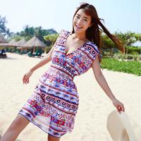 Multicolour 2014 plaid loose V-neck beach dress sexy sleeveless one-piece dress short  female summer  Freeshipping IVU
