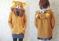 New!!!! Easy Relax Bear  Hoodie Fashion Japan Anime Cosplay Ears Face Tail Zip Hoody Sweatshirt Costume,S M L XL