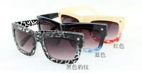Fashion sunglasses mirror driver anti-uv large frame leopard print rivet
