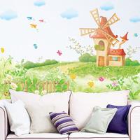 Sofa tv wall dream windmill sticker child bed wall stickers