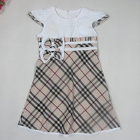 Brand Plaid Girls Dress New 2014 Summer Causal Cotton Bow Girl Dress Blue Beige Short Sleeve Kids Children Clothing 2-5 Years