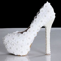 Sweet white flower lace platform high-heeled shoes pearl wedding shoes women bride dress shoes women pumps, big size 35 to 40