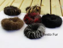 Beautiful Genuine Real Mink Fur Elastic Hair Band Hair Ring(China (Mainland))