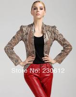 2014 spring Fashion women snakeskin grain genuine Sheepskin Leather Short suit coat Slim short Leather suit Coat Women C1610