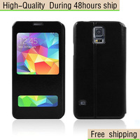 High Quality Flip Leather Case Open Window Stand Cover For Samsung Galaxy S5 SV I9600 Free Shipping UPS DHL EMS HKPAM CPAM WEOE2