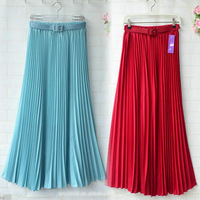 Retro Pleated Maxi Long Skirt Elastic Waist Band Belt Chiffon Boho Dance  New 2014 Summer Hot selling