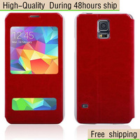 High Quality Flip Leather Case Open Window Stand Cover For Samsung Galaxy S5 SV I9600 Free Shipping UPS DHL EMS HKPAM CPAM WEOE1