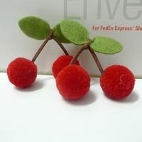 30pcs 25mm Diameter Red Pom Pom Ball Cherries For Carfts Supplies