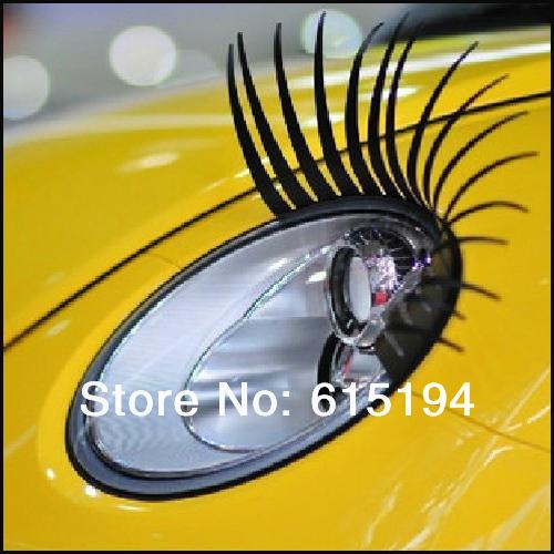 1pair/lot 3D Eyelash Car Eye Lashes 3D Car Logo Sticker 3D Automotive Eyelashes Auto Lights Lashes Free Shipping(China (Mainland))