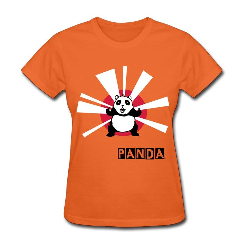 On Sale Gildan Girl's TShirt panda angry sun Print Pics Tee Shirts for Girl ShortSleeve(China (Mainland))