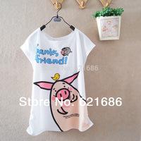 2014 summer new arrival women's clothing college teenage girls students cartoon animal pig short sleeve t-shirts 897
