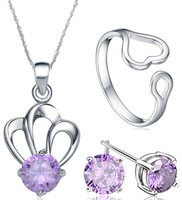 Wholesale Sterling Silver 18inch Pendant Necklace + 6MM Silver Stud Earrings + Ring,925 Silver Sets (I1148&G0016&O0128&K0001)